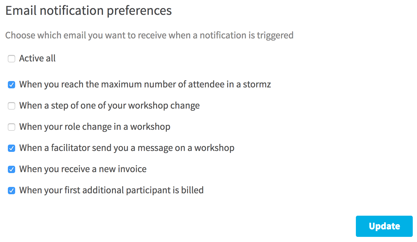 enable notifications email for a user